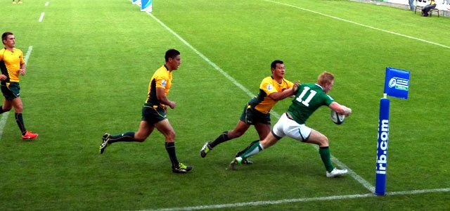 Rory Scholes crosses for Ireland's try against Australia. Picture Megan Joyce
