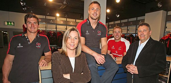 Robbie Diack, Fiona Hampton, Head of Sales and Marketing, Ulster Rugby, Tommy Bowe, Stephen Ferris and Terry Jackson, Kukri Sports