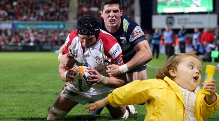 Big Dan slides in for Ulster's 5th try scaring the bejesus out of a young supporter!