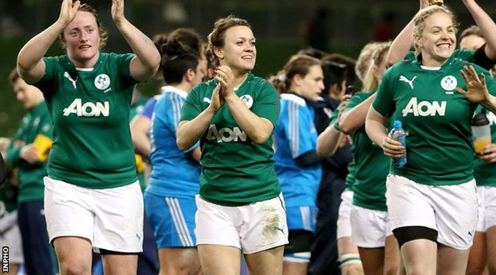 Ailis Egan, Lynne Cantwell and Niamh Briggs soak up the Aviva atmosphere after Ireland's 39 - 0 win against Italy. Photo INPHO,ie