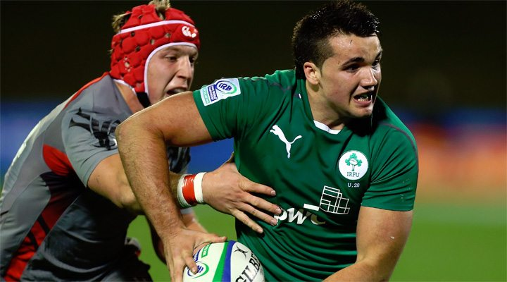Ireland's bonus point try scorer Cian Kelleher in action against Wales.