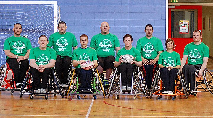 Members of the Irish Wheelchair 7's squad: James McCarthy,  Paddy Forbes,  Pat O'Neill capt, Derek Hegarty, Stephen Melvin, Michael O'Cearra,  David Griffith, Michael Hennessy,  Raisa Carolan.