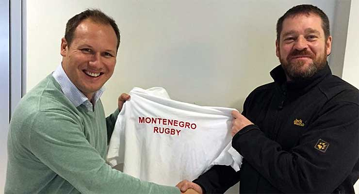 Marty Lusty (r) with the Chairman of Montenegro RFU.