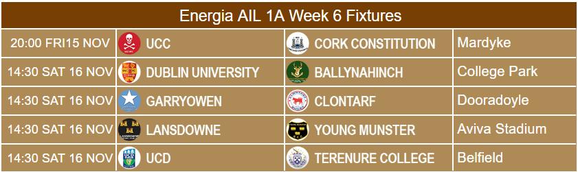 Energia AIL 1A fixtures Week 6
