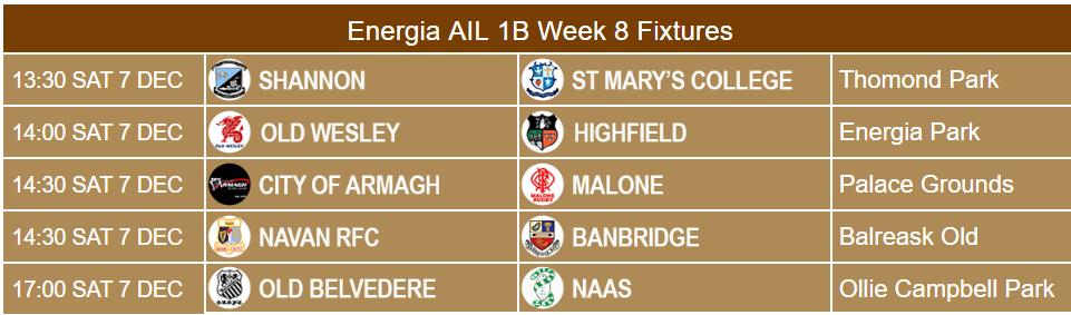 Energia AIL 1B Week 8 Fixtures