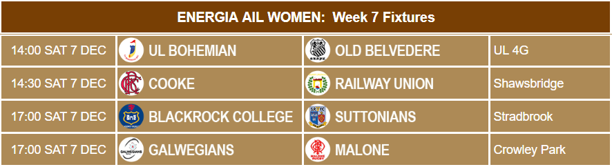 Energia AIL Women Week 7 Fixtures