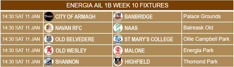 Energia AIL 1B Week 10 Fixtures