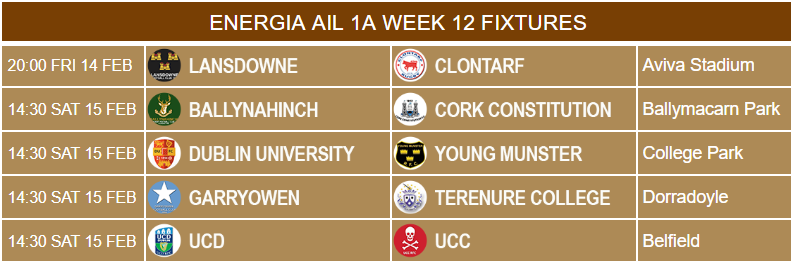 energia ail 1a week 12 fixtures